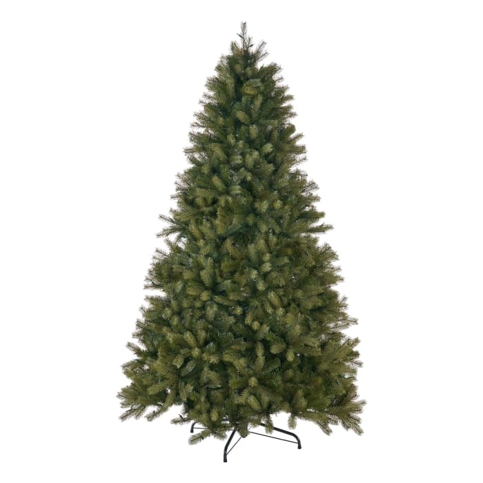 7-Foot Mixed Spruce Pre-Lit Multi-Colored String Light Hinged Artificial Christmas Tree