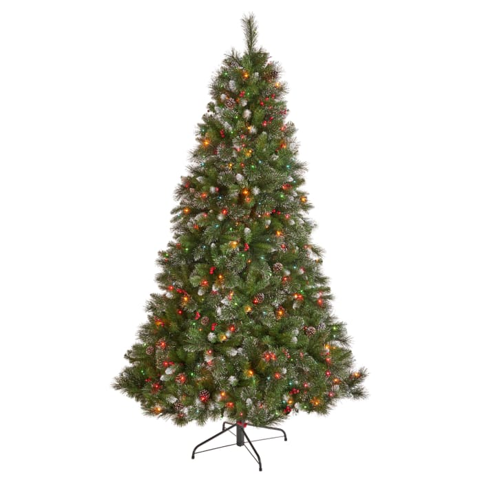 7-foot Mixed Spruce Pre-Lit Multi-Colored String Light Hinged Artificial Christmas Tree with Glitter Branches, Red Berries, and Pinecones