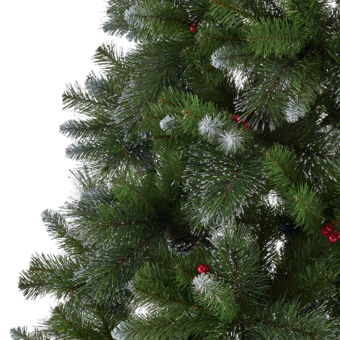 7-foot Mixed Spruce Unlit Hinged Artificial Christmas Tree with Glitter Branches, Red Berries, and Pinecones