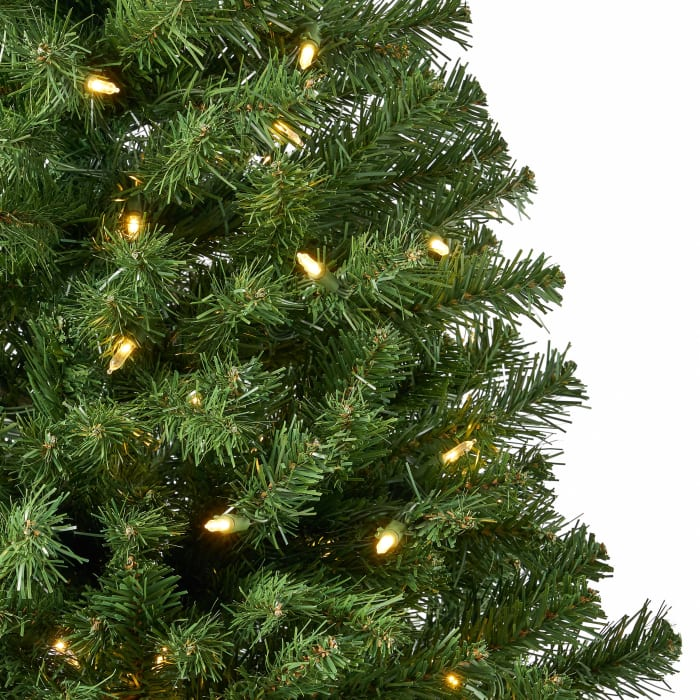 7-foot Noble Fir Pre-Lit Clear LED Hinged Artificial Christmas Tree