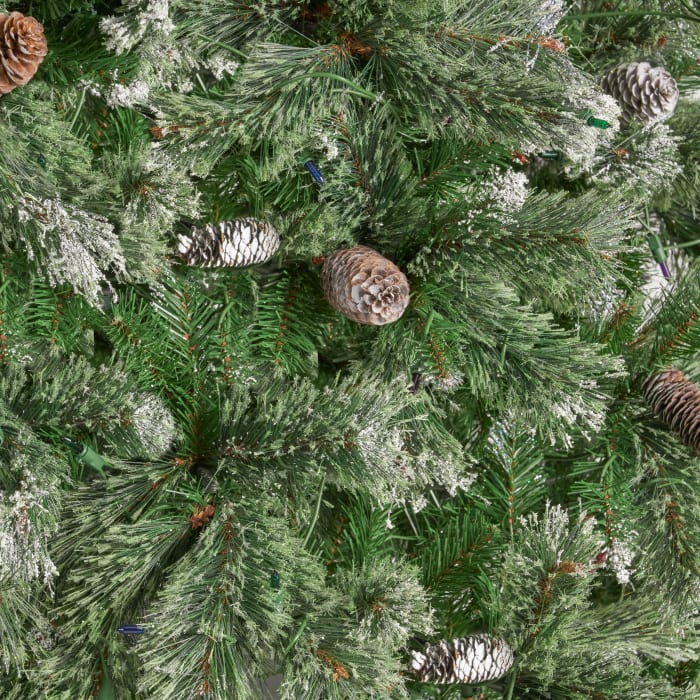 7.5-foot Cashmere Pine and Mixed Needles Pre-Lit Multi-Color String Light Hinged Artificial Christmas Tree with Snow and Glitter Branches and Frosted Pinecones