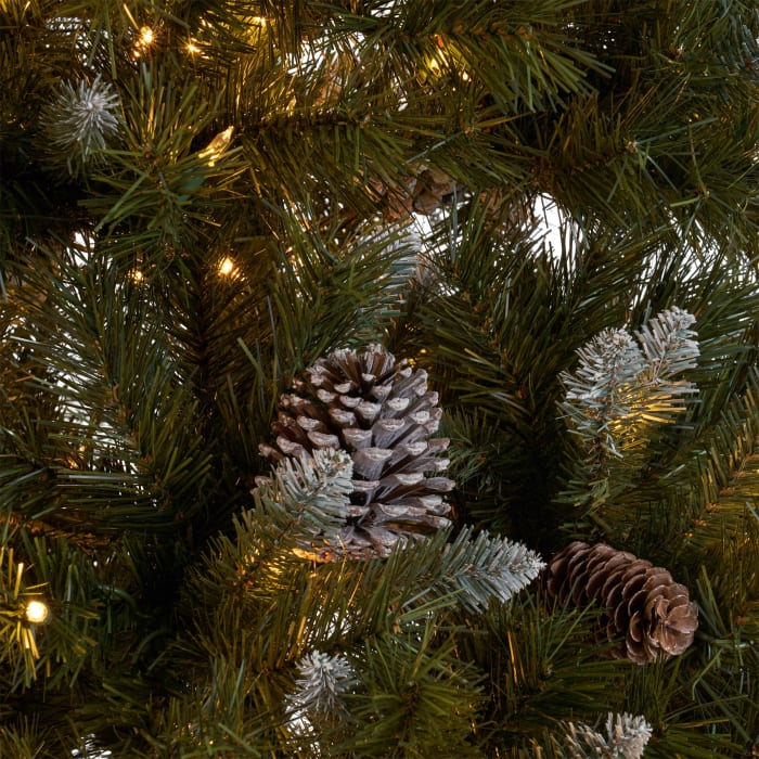 7.5-foot Mixed Spruce Pre-Lit Clear String Light Hinged Artificial Christmas Tree with Frosted Branches, Red Berries, and Frosted Pinecones