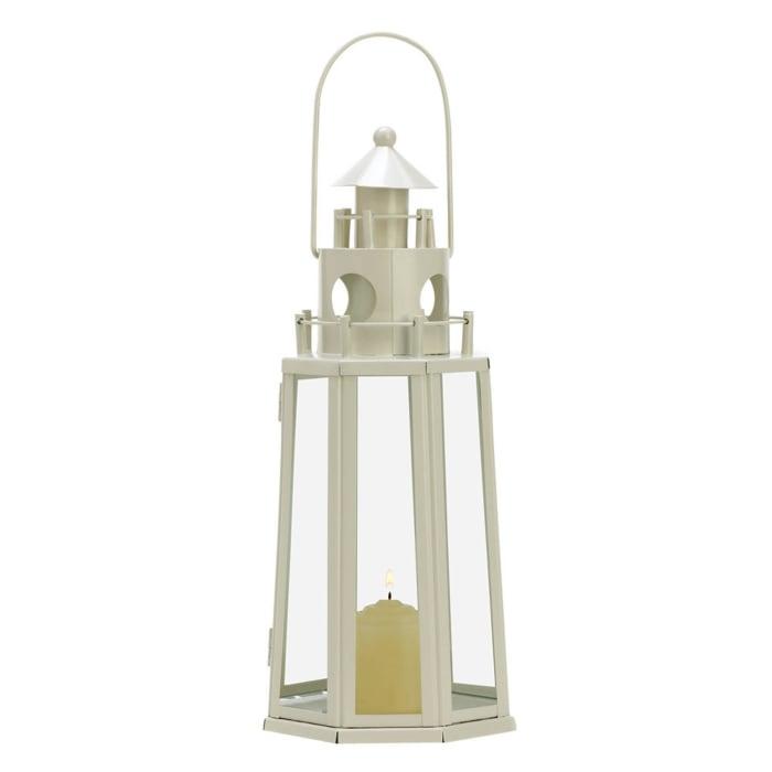 Ivory Lighthouse Hanging Candle Lantern