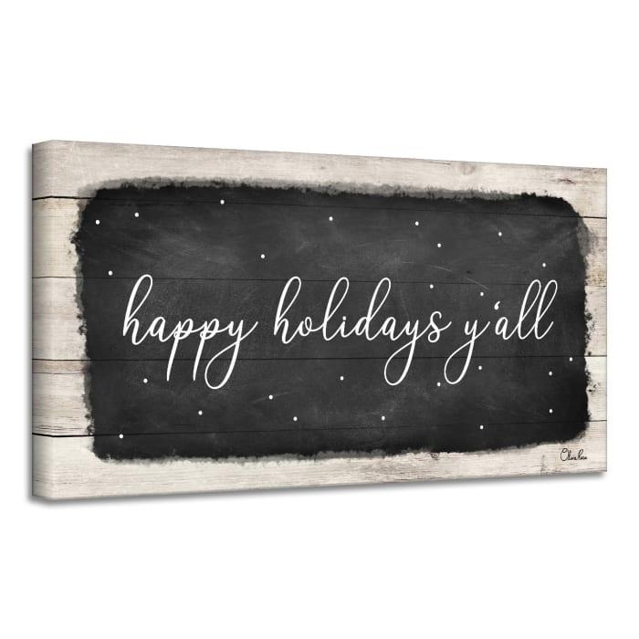 Happy Holidays Y'all Black Holiday Canvas Wall Art