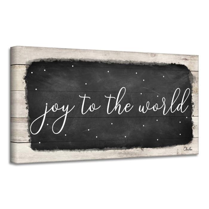 Joy to the World Black Holiday Canvas Wall Art