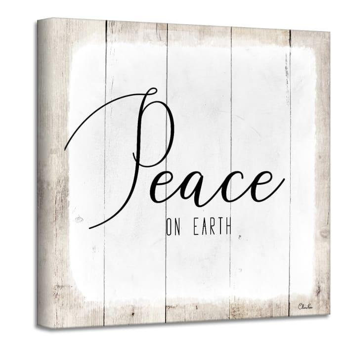 Peace on Earth II White Holiday Canvas Wall Art