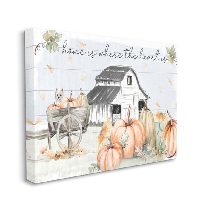 Autumn Farm Harvest Home and Heart Phrase Wall Art