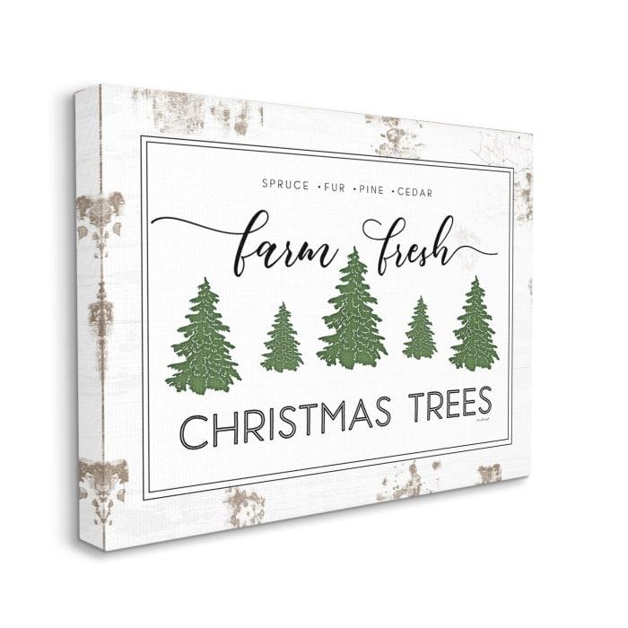Farm Fresh Trees Rustic Sign Christmas Charm Wall Art