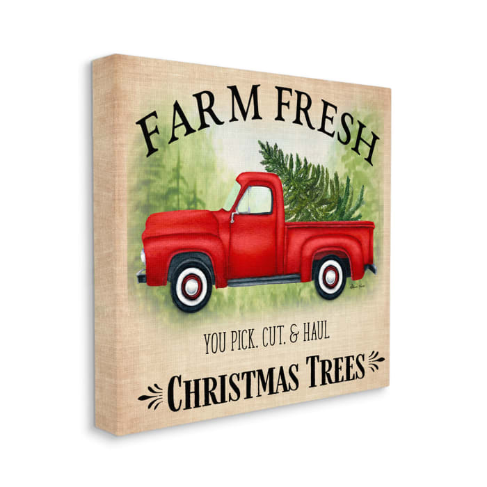 Holiday Red Truck Cut and Hull Christmas Trees Wall Art