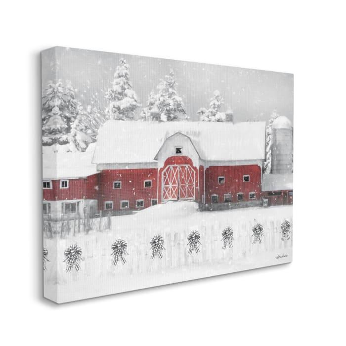 Red Barn Winter Scene Farm Charm Snowfall Wall Art