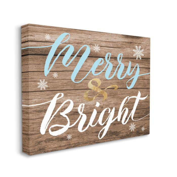 Rustic Merry and Bright Festive Christmas Phrase Wall Art