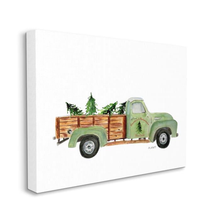 Santa's Christmas Tree Farm Green Vintage Truck Wall Art