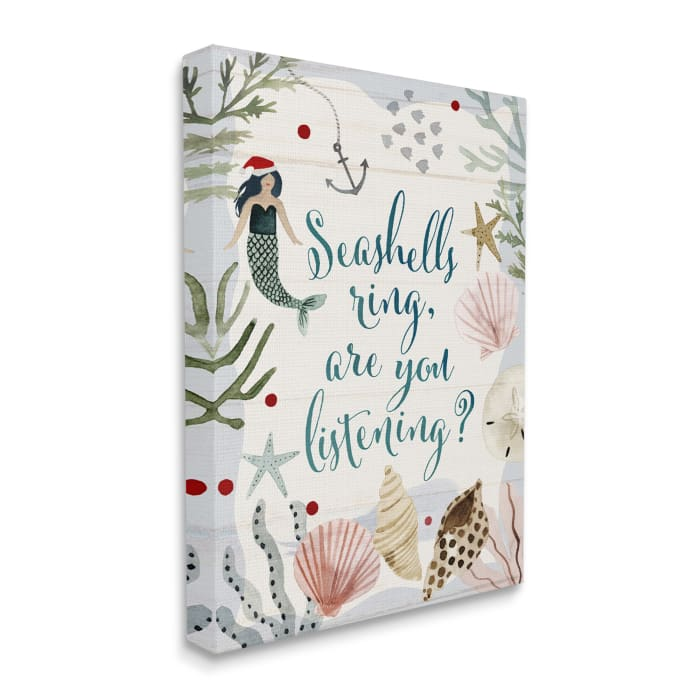 Seashells Ring, You Listening Phrase Nautical Beach Christmas Wall Art