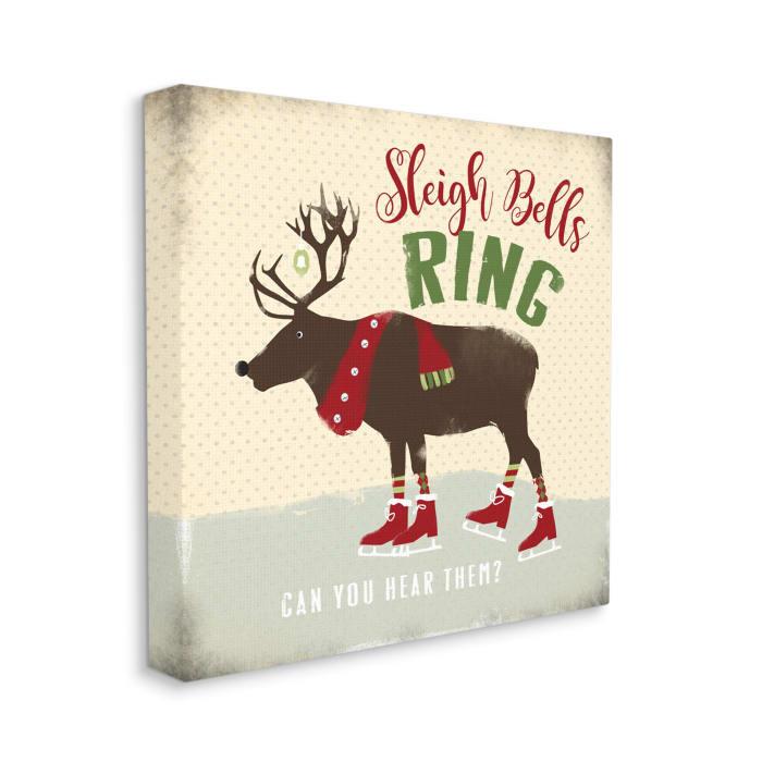 Sleigh Bells Ring Christmas Reindeer Ice Skating Wall Art