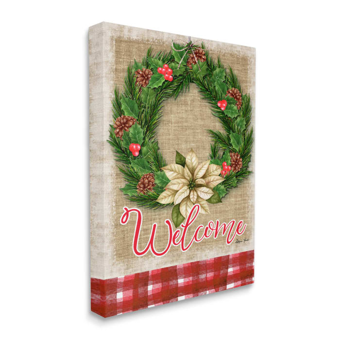Traditional Welcome Text Cottage Wreath Pinecones Wall Art