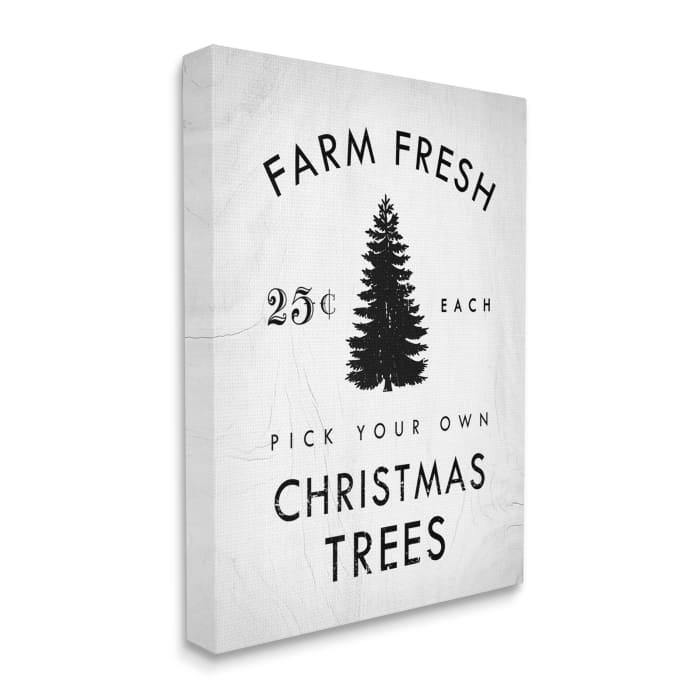 Vintage Style Christmas Tree Farm Sign Minimal Wall Art