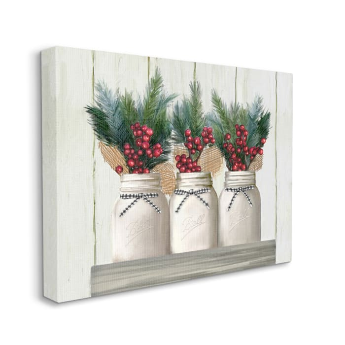 White Country Jars with Christmas Berry Bouquets Wall Art