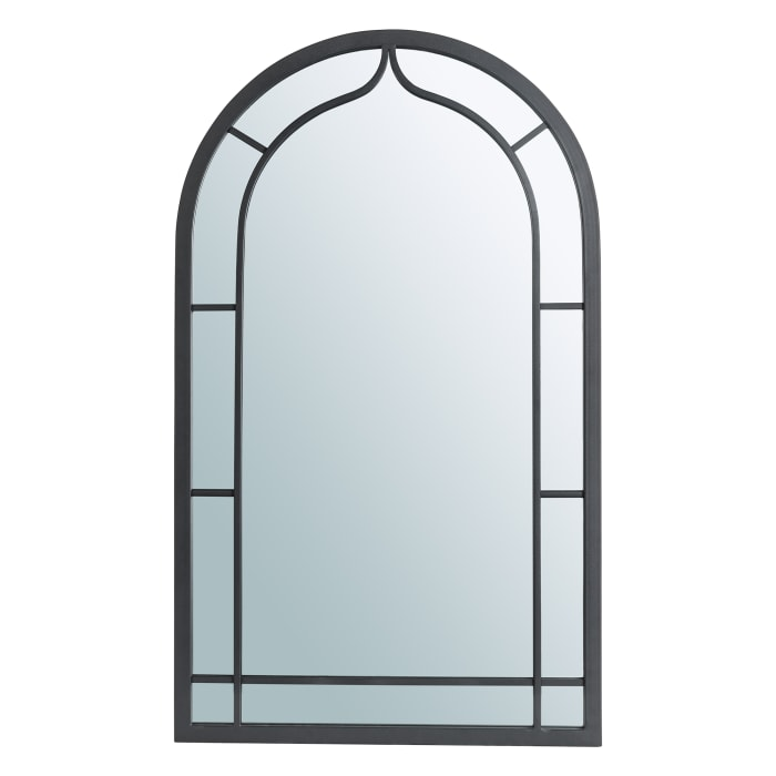 Oversized Black Metal/Glass Arched Wall Mirror