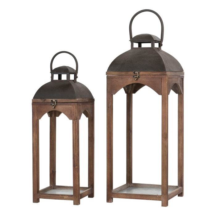 Set of 2 Whiskey Brown Farmhouse Modern Wood/Metal Lanterns