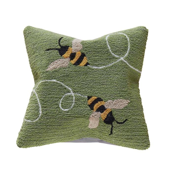 Buzzy Bees Green Outdoor Pillow