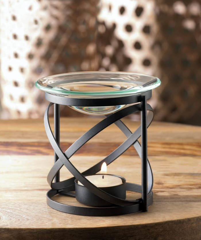 Modern Orbital Metal and Glass Candle Oil Warmer
