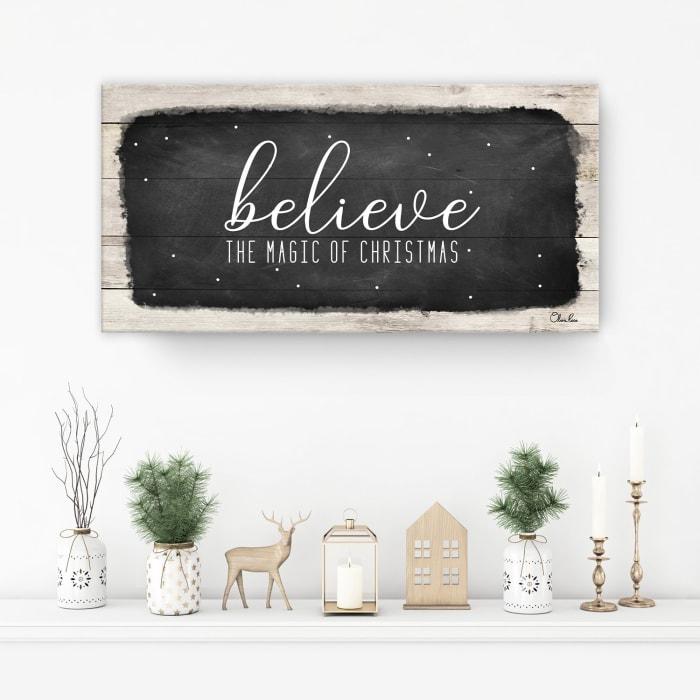 Believe I Black Holiday Canvas Wall Art
