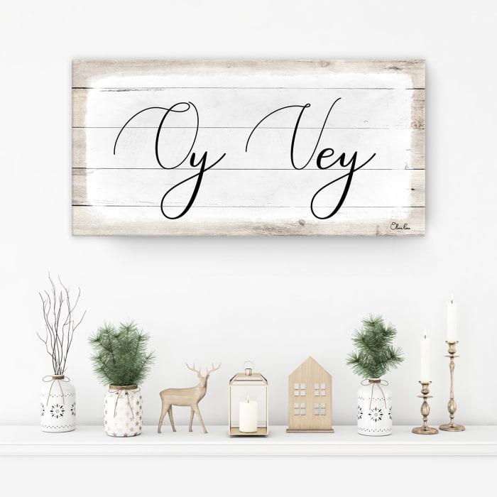 Oy Vey II White Hanukkah Canvas Wall Art