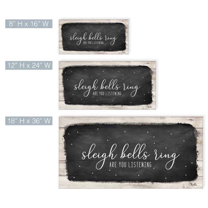 Sleigh Bells Black Holiday Canvas Wall Art