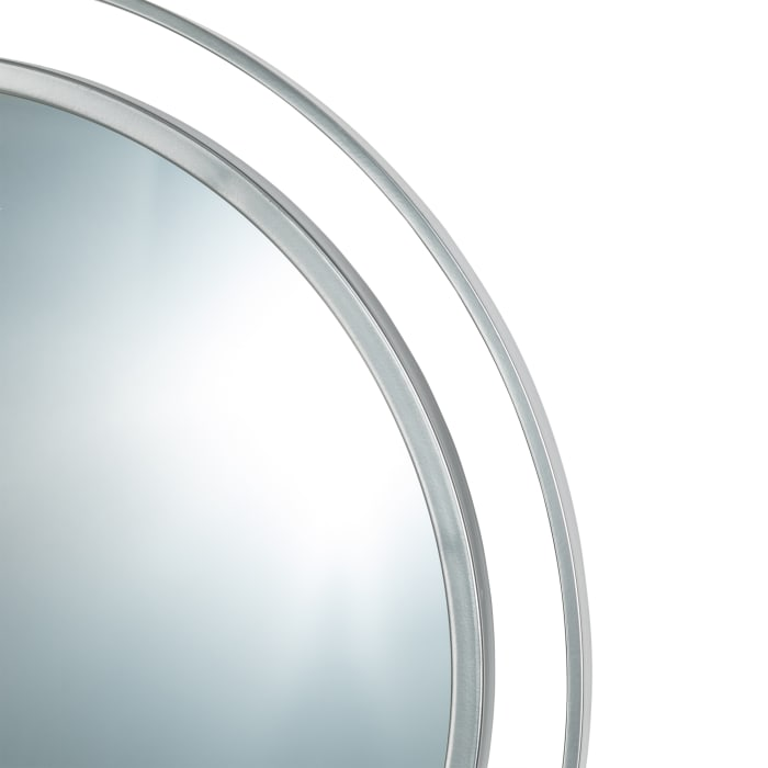 Deluxe Round Silver Wall Mirror