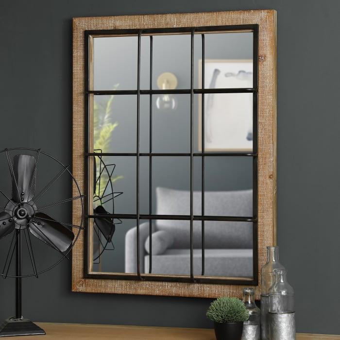 Farmhouse Wooden/Metal Windowpane Wall Mirror