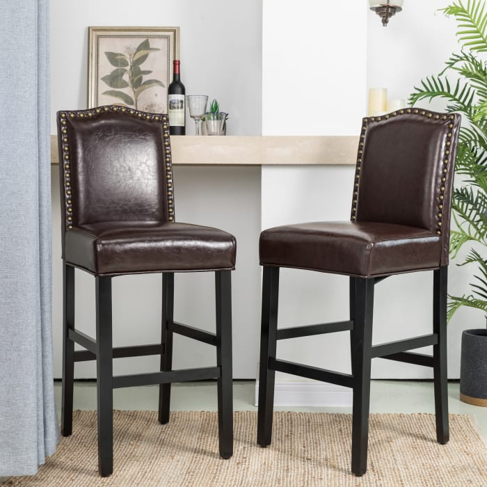Set of 2 Coffee Bonded Leather High-back Barchair w/Studded Decor