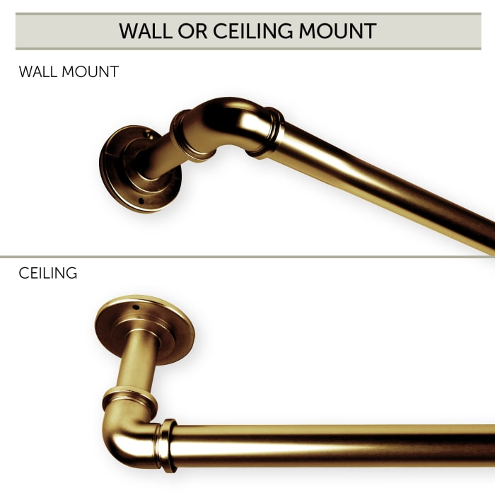 1 inch Pipe Blackout Curtain Rod 84-120 inch - Antique Brass (3pcs)
