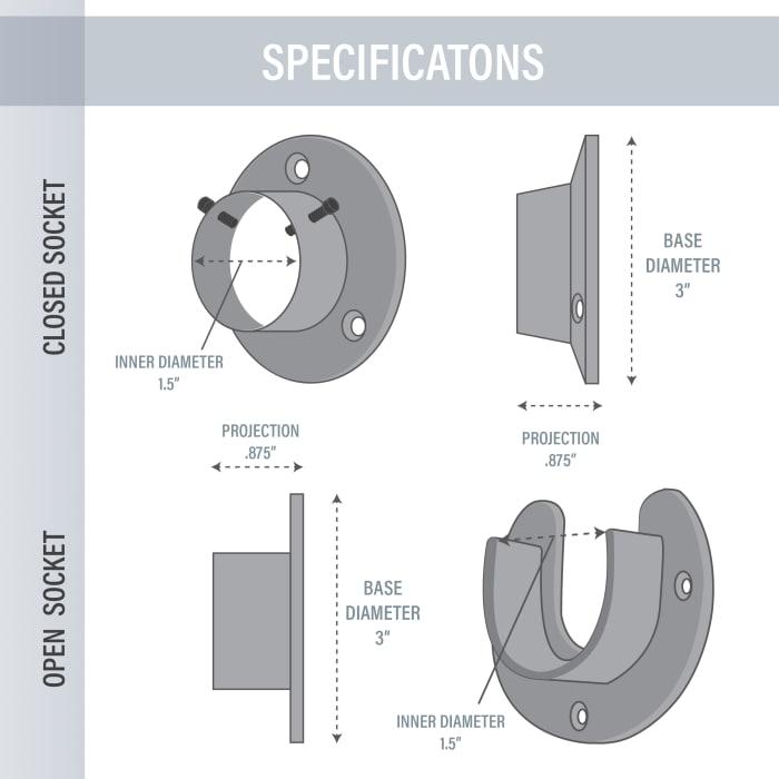 1.5 inch Rod Socket (Open/Close) Satin Nickel