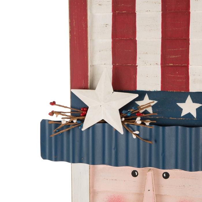Wooden/Metal Patriotic Uncle Sam Porch Sign