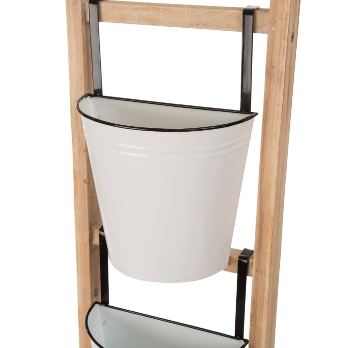 Enameled Metal/Wooden 3-Tier Leaning Ladder Planter Stand