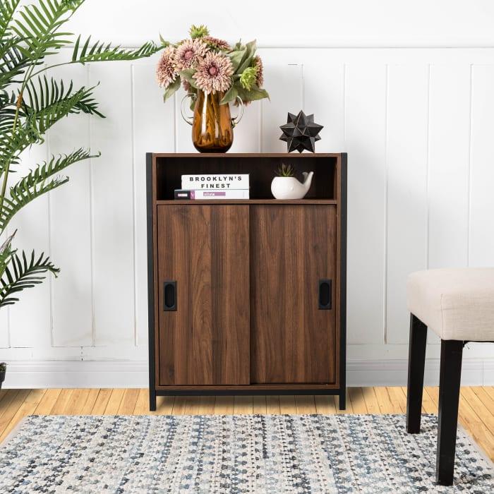 Wooden and Metal Floor Cabinet with Double Sliding Doors