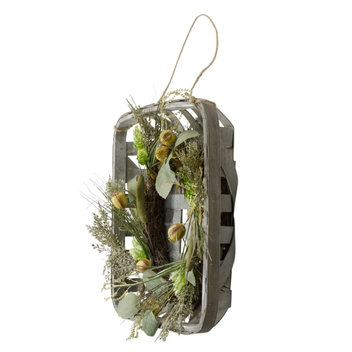 Autumn Harvest Green Hop and Cattail Grapevine Wreath in a Wooden Tray Hanger