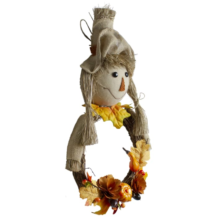Yellow and Beige Fall Harvest Scarecrow Wall Decor