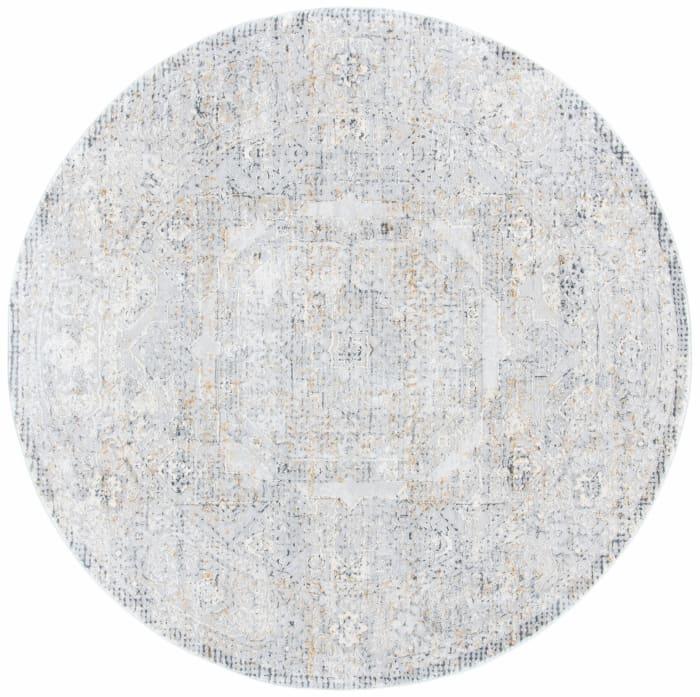 Gray Polypropylene Round Rug 6'5