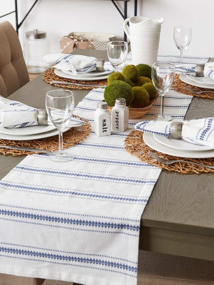 French Blue Zig Dobby Stripe Table Runner