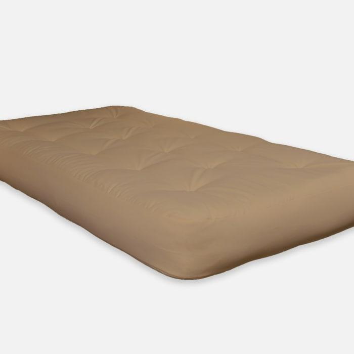 Khaki Double CertiPUR-US® Certified Foam Futon Twin 75 In. x 39 In. in Tan Mattress