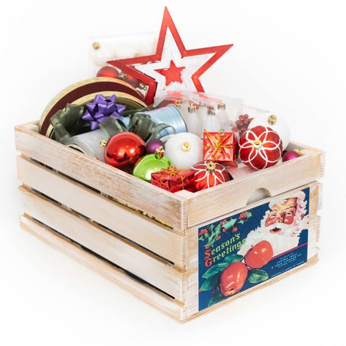 Vintage Style Wood Fruit Crate Apple