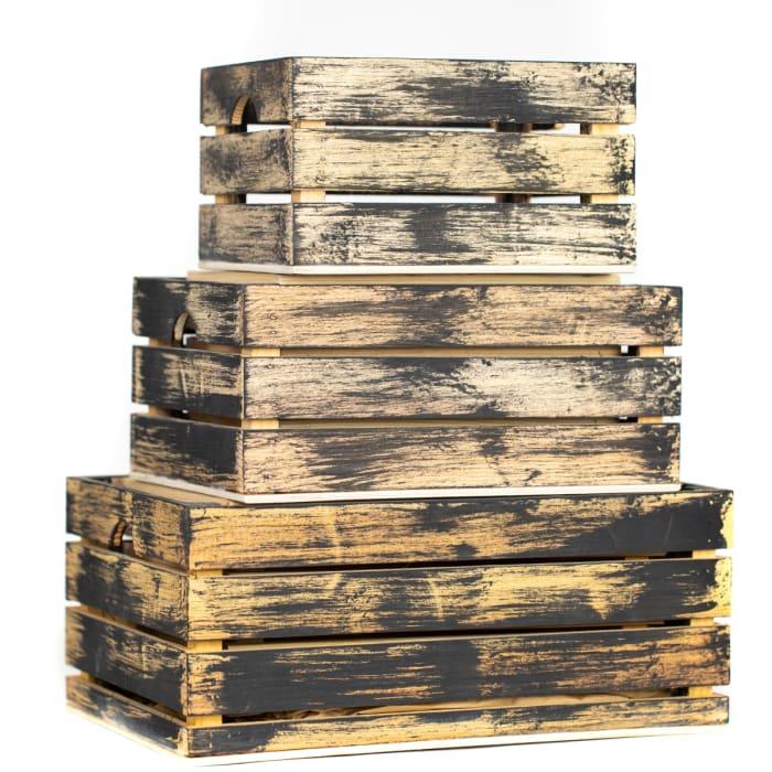 Rustic Decorative Wood Crates (Set of 3)