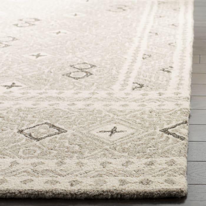 Essence Gray Wool Round Rug 5'