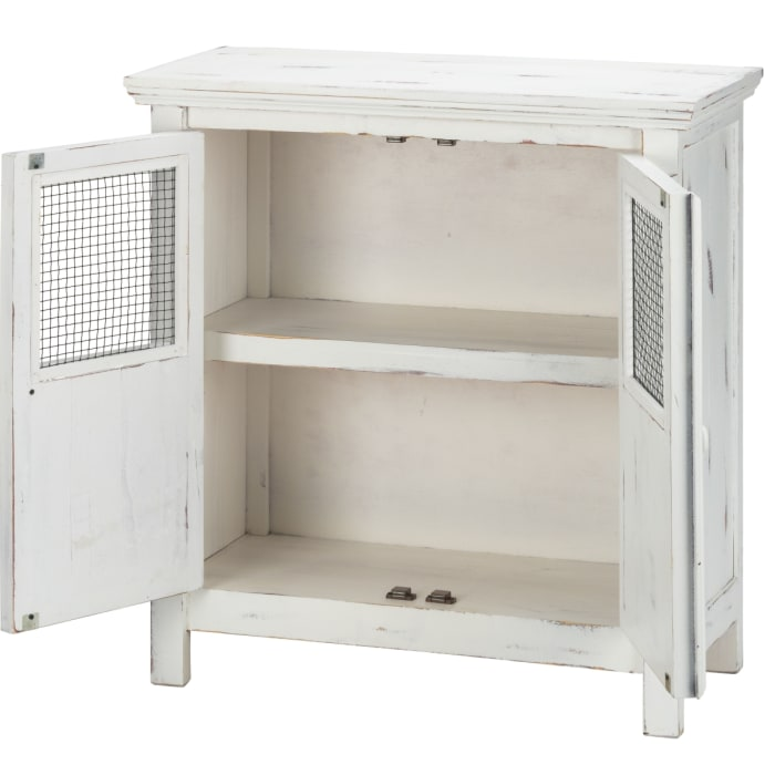 Wood 32 Loft 2-Door Wire Small Cabinet White Distressed