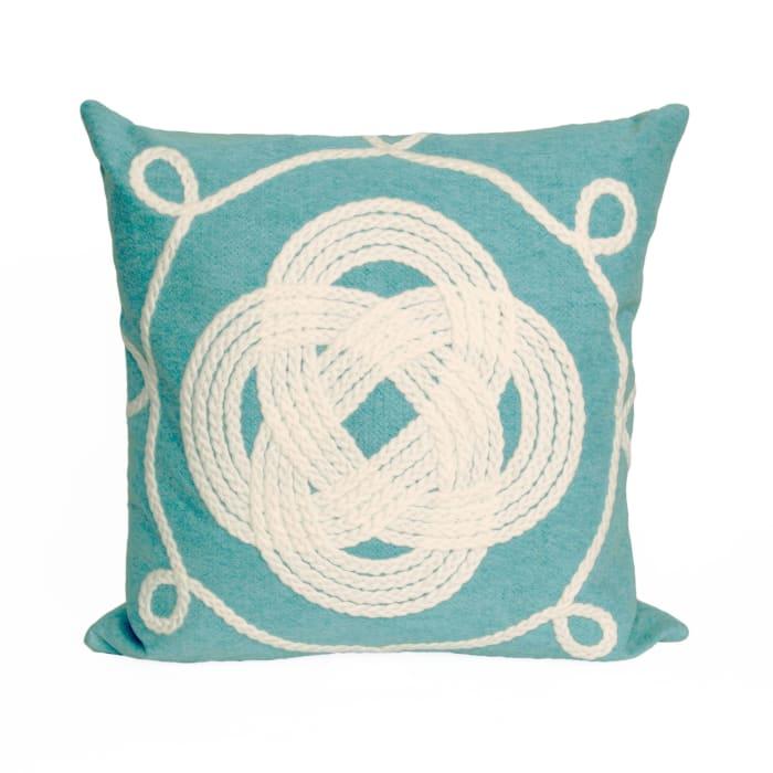 Ornamental Knot Aqua Outdoor Pillow