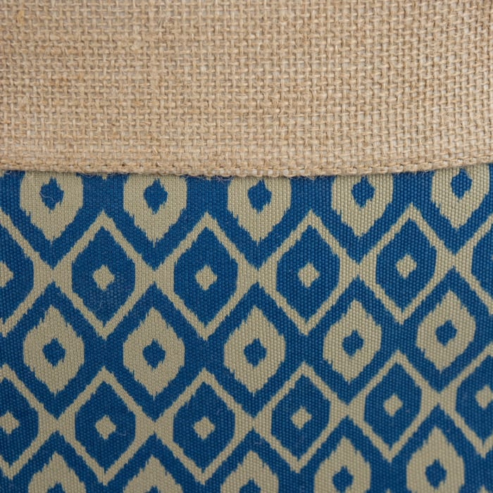 Burlap Bin Ikat Blue Rectangle Small 14x8x9