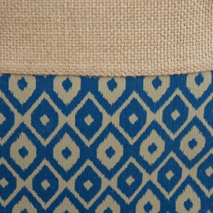 Burlap Bin Ikat Blue Round Medium 12x15x15