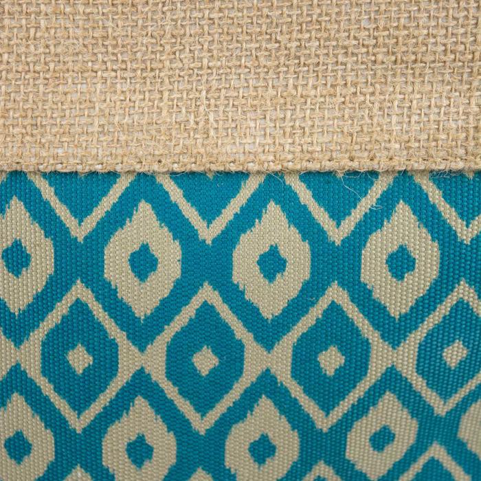 Burlap Bin Ikat Teal Rectangle Large 17.5x12x15