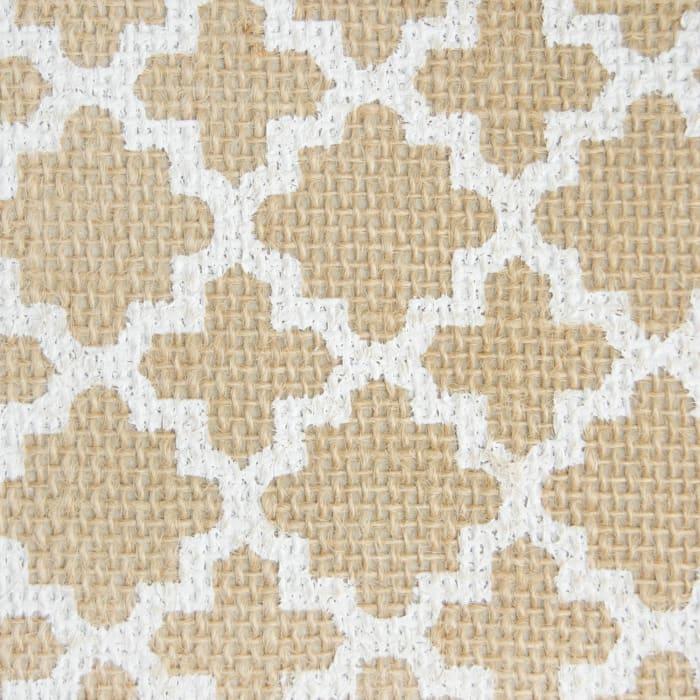 Burlap Bin Lattice White Round Medium 12x15x15